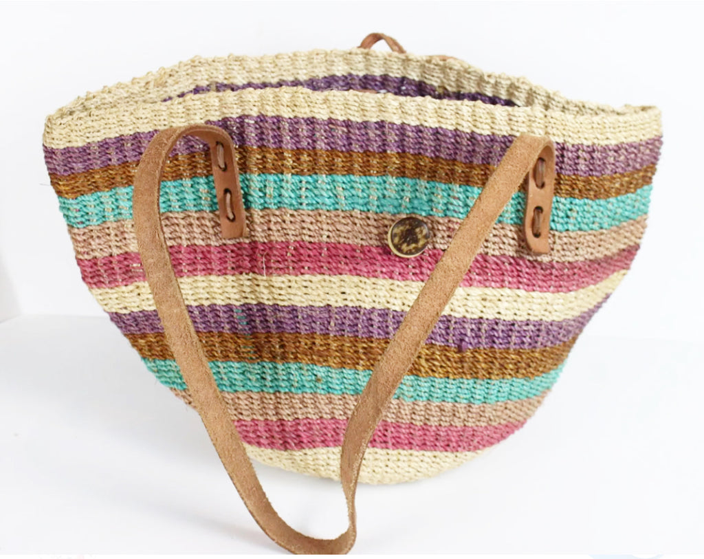 Vintage Sisal Boho Leather Woven Jute Straw Market Shopper