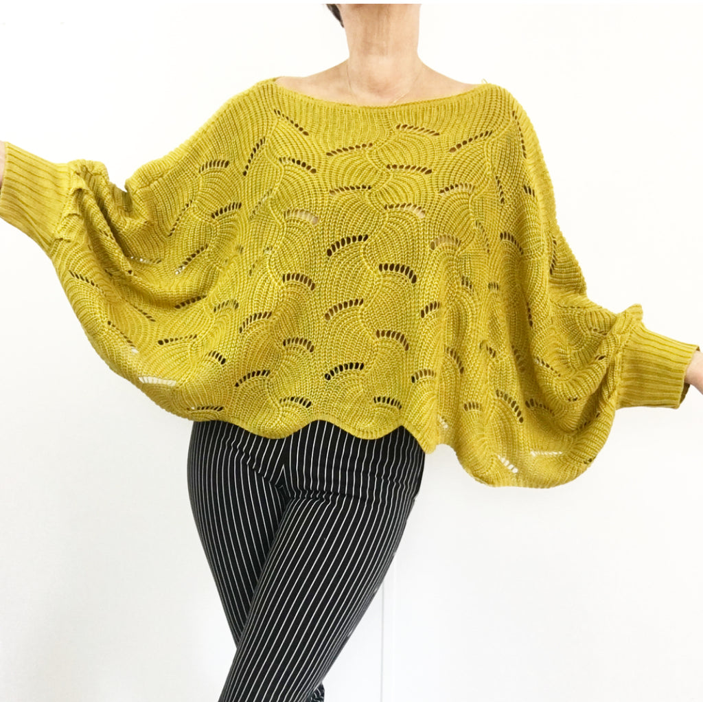Oversized Crochet Sweater W/Batwing Sleeves