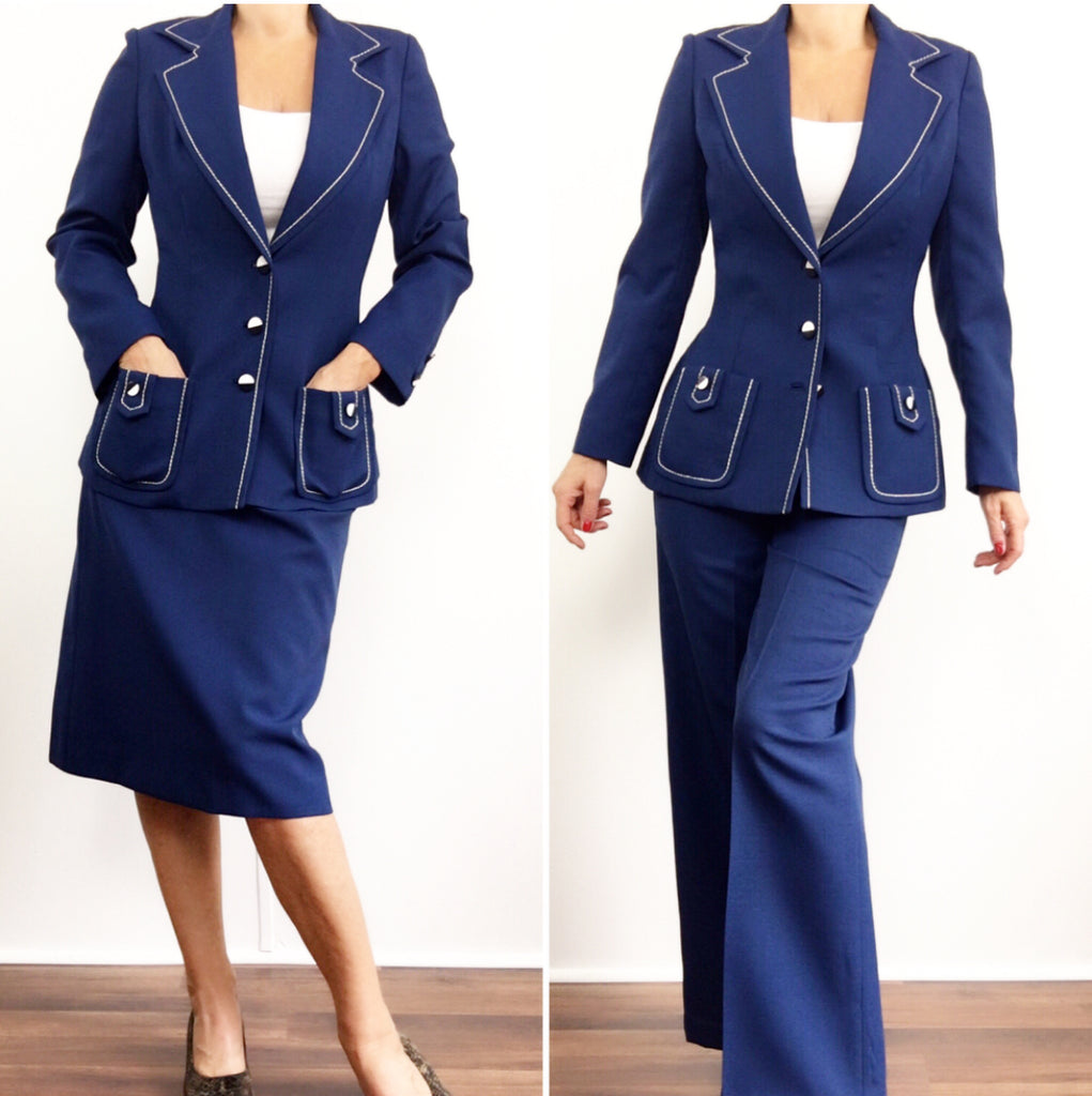 Vintage 1970's Lilli Ann Mod Suit - Pants, Skirt and Blazer Set