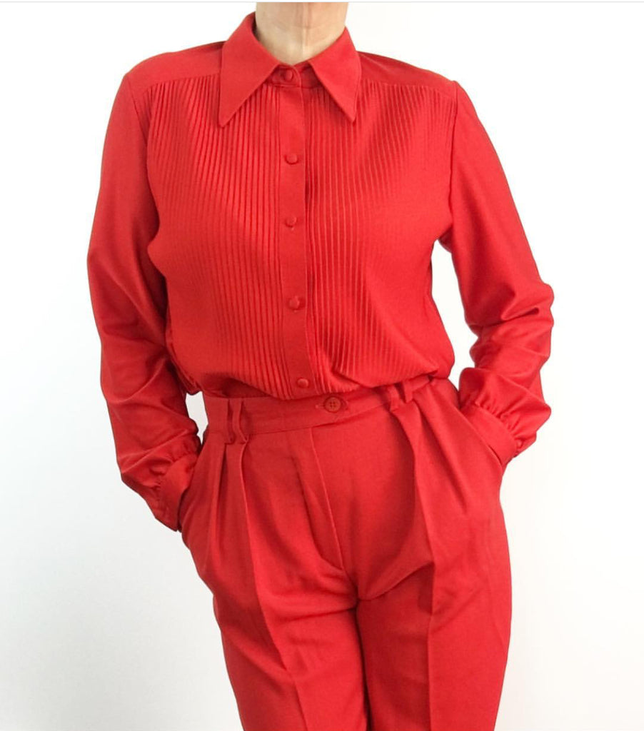 Vintage 1970's Lipstick Red Pleated Blouse
