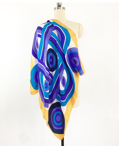 Vintage 70's Abstract Print Silk Scarf