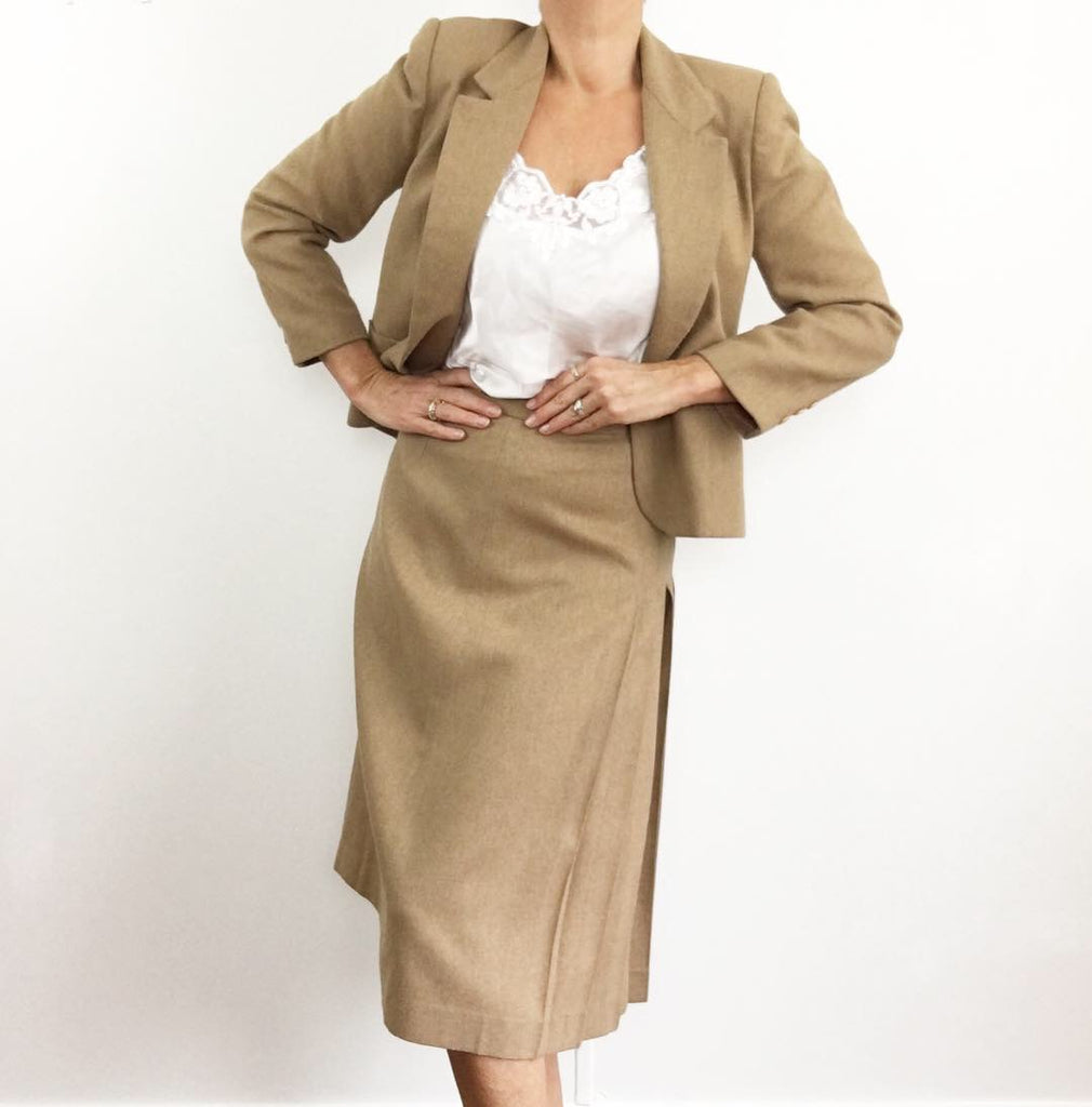 Vintage 1970's Chic & Sportive Tan Skirt Suit