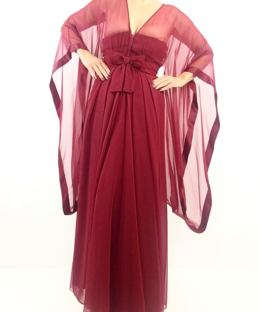 Vintage 1970's Miss Elliette Rasberry Red Chiffon Gown W/ Oversized Angel Sleeves
