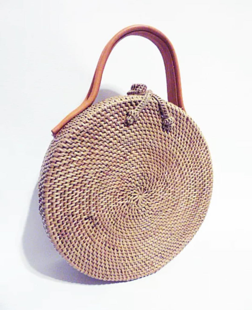 Vintage Rattan Bag W/Leather Handle