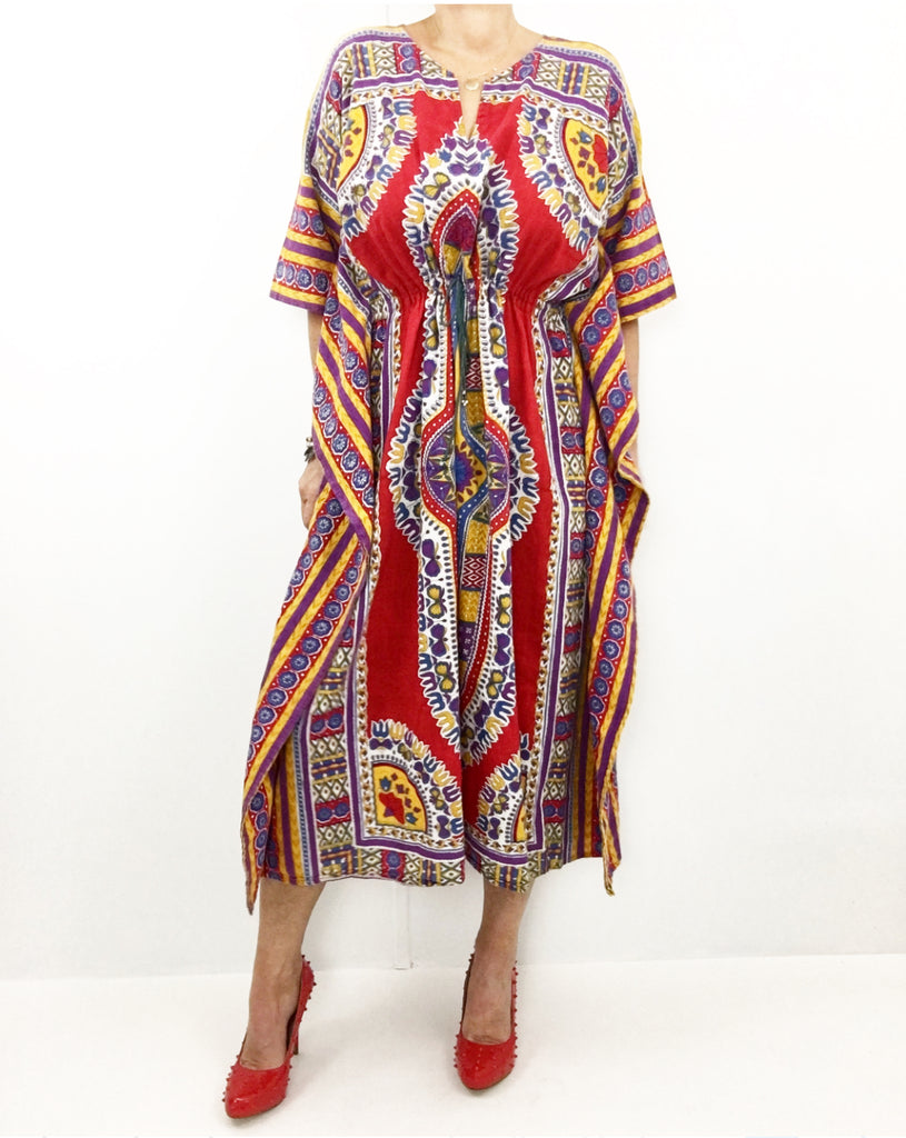 Vintage 1970s Dashiki Caftan Cotton Dress Robe
