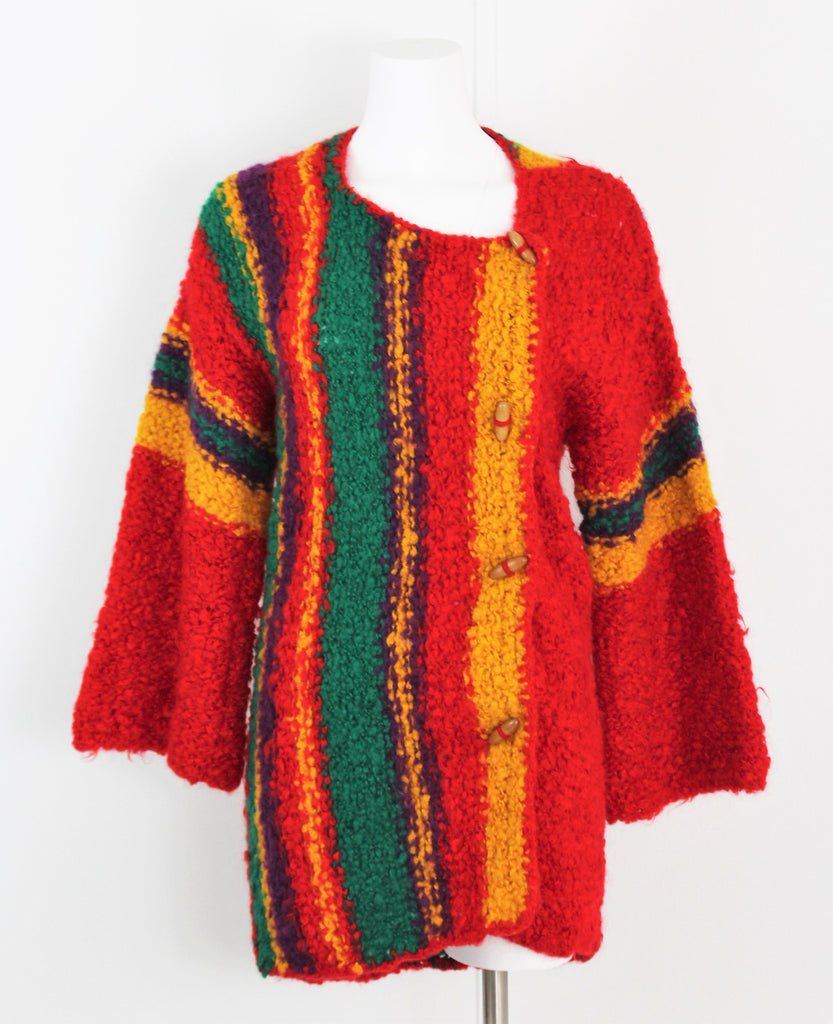 Vintage 1970's Red Striped Multicolor Wool Bell Sleeve Long Sweater Coat - Made in Italy