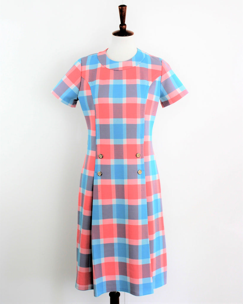 Vintage 1960's Mod Pastel Checked Cay Artley Dress