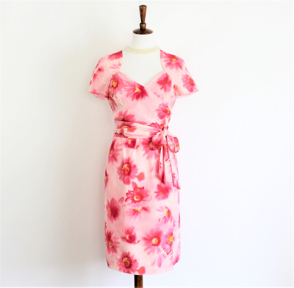 Vintage 1980's ESCADA Silk Pink Floral Dress