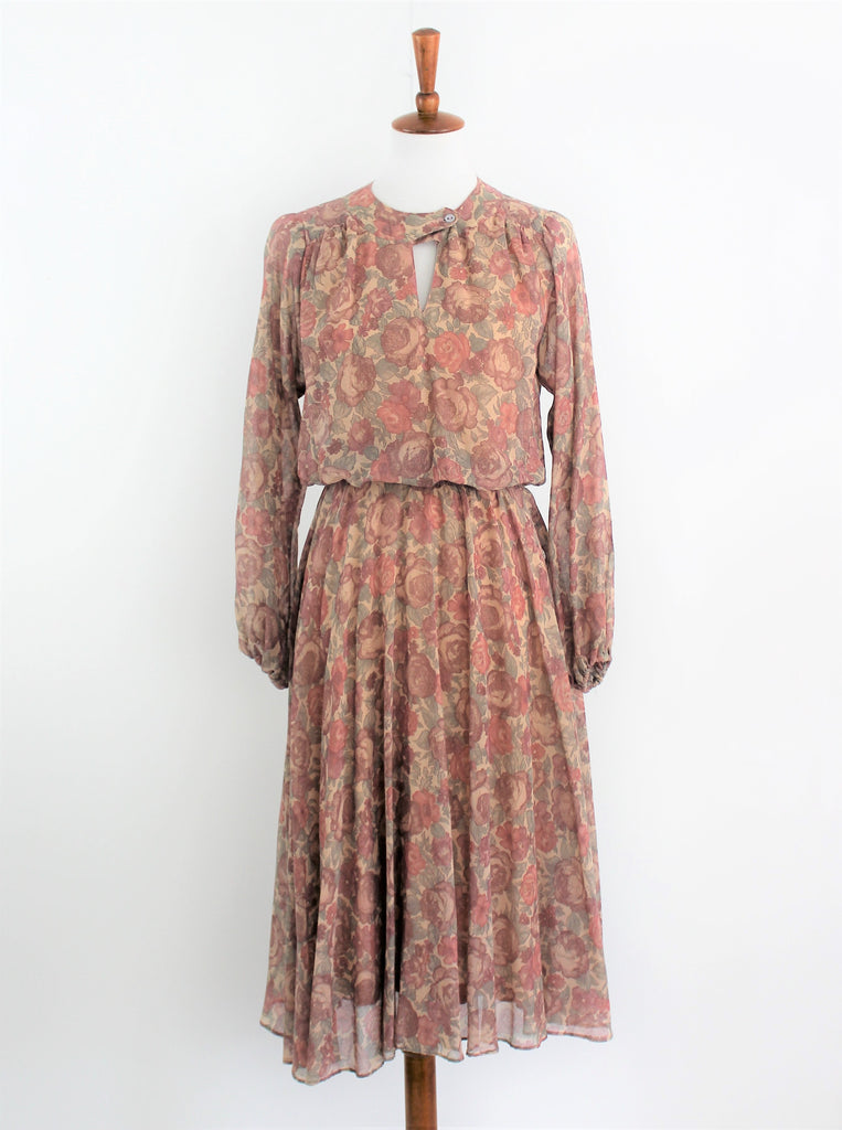 Vintage late 60's Jonathan Logan Dusty Roses Dress