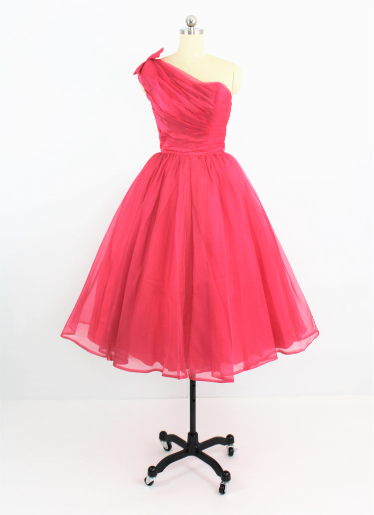 Vintage 1950's Amazing Pink Chiffon One Shoulder Organza Dress Gown