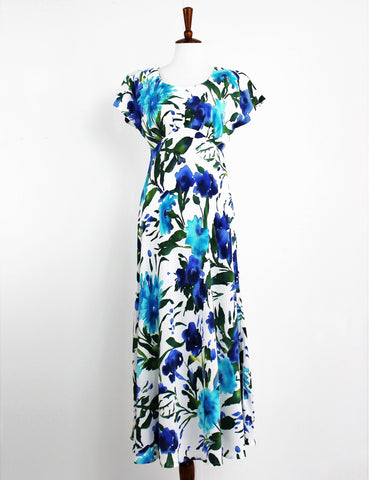 Vintage Carole Little Fantastic Watercolor Floral Maxi Tea Dress