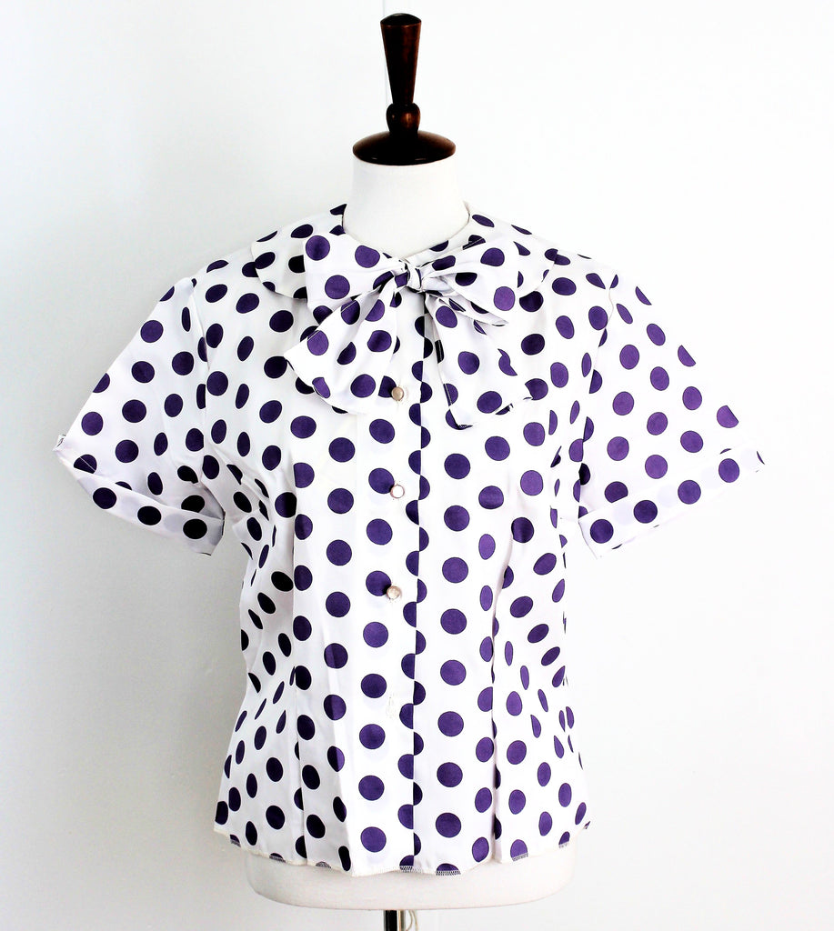 Vintage 1950's Cotton Bow Blouse