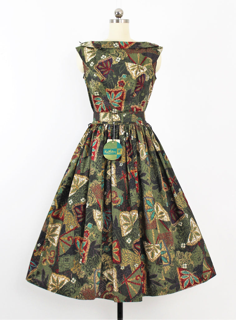 Vintage 1950's Cotton Fall Print Dress by Kay Whitney / NWT - Dead stock