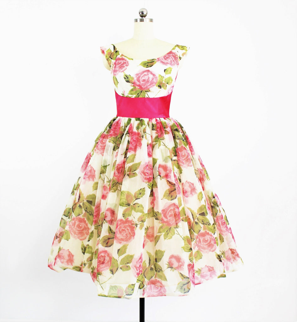 Vintage 1950's Floral Chiffon Tea Dress W/ Accented Sash Waist