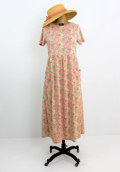 VINTAGE 1970'S CASUAL SOFT COTTON SLIP ON COUNTRY LOOSE FITTING DRESS