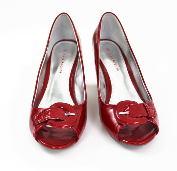 ETIENNE AIGNER Cherry Red Open Toe High Heels - High Shine Classic Pumps Size 8 NWOB