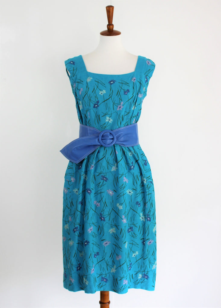 Vintage 1950's Turquoise Floral Embroidered Linen Day Dress