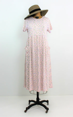 VINTAGE 1970 CASUAL SOFT COTTON SLIP ON COUNTRY LOOSE FITTING DRESS