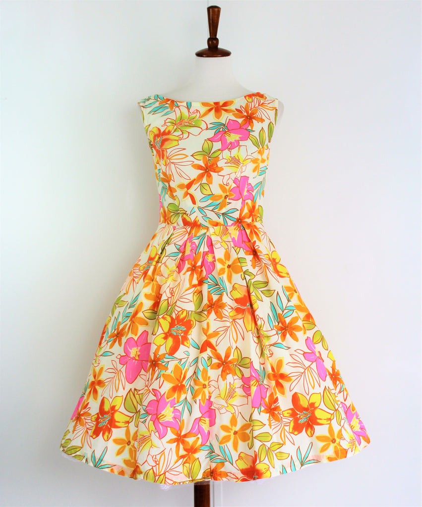 Vintage 1950s Bold Floral Print Fit'n Flare Dress Sz XS/S