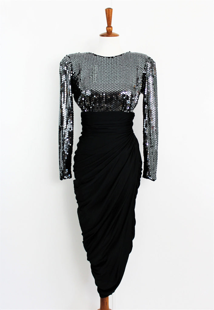 Vintage 1980s Tadashi Sequin and Ruched Clingy Dress with Deep V Back