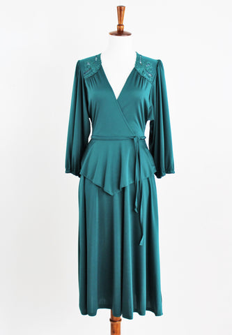 Vintage Trolley Car 1970's 40s Style Green Disco Peplum Swing Dance Dress