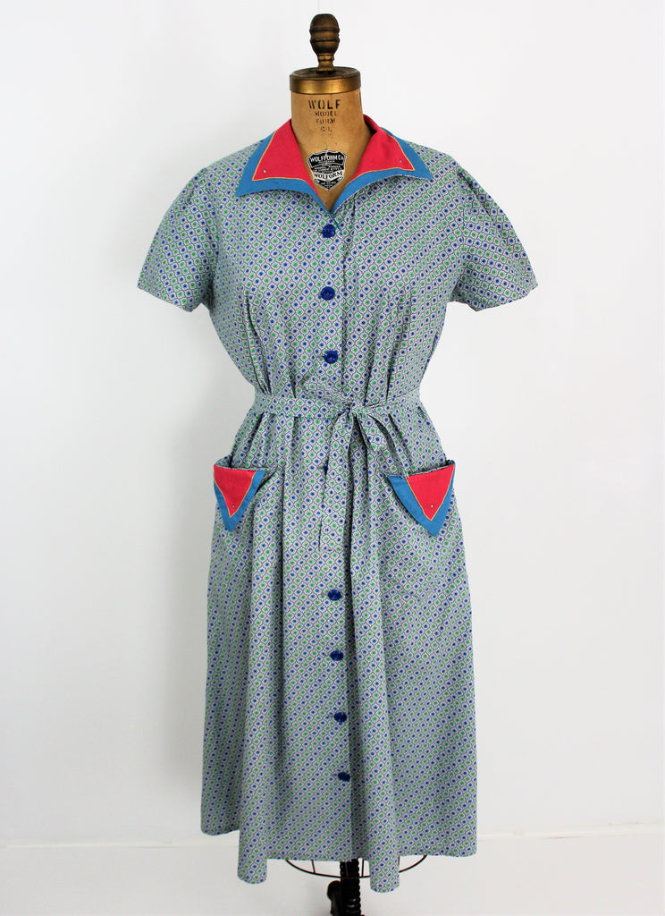 Vintage 1940s Colorful House Dress