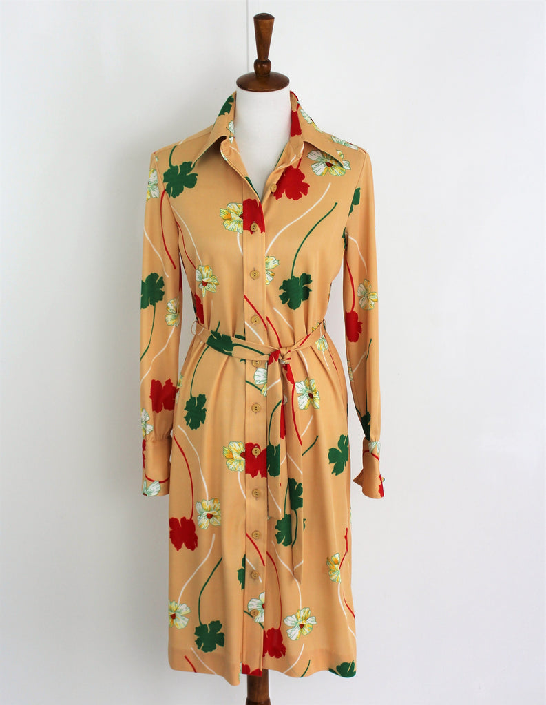 Vintage 1970s Shirt Dress Bleeker Street Polyester Floral Belt Long Sleeve Large