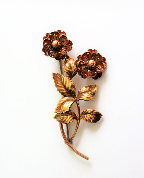 Vintage 1950's Beautiful Signed Krementz Floral Two Tone Rose Gold Brooch