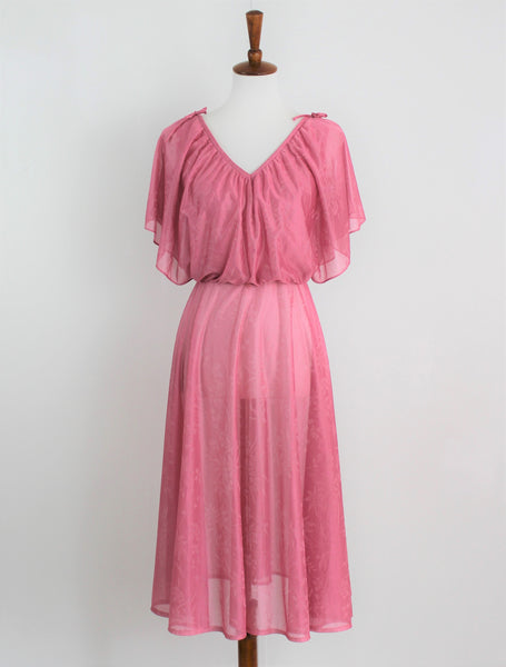 Vintage 1970's Sheer Dusty Rose Boho Cape Dress