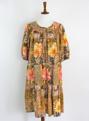 Vintage 1980's Patio Dress Floral Print w/Pockets