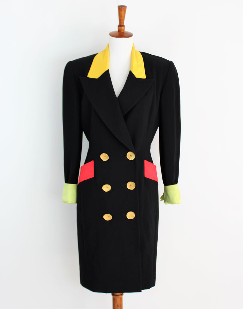 Vintage 1980's Bill Blass Coat Dress With Colorful Accents