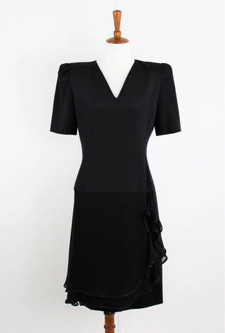 Vintage CAROLINA HERRERA Black Silk Chiffon Ruffle Dress