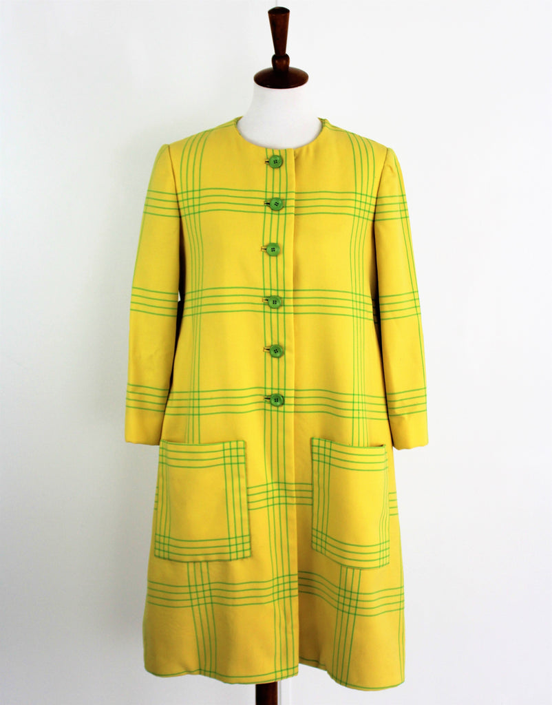 Vintage 1960s Townley Womens Yellow Dress Coat