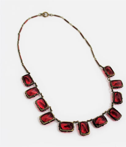 Vintage 1930's Red Beveled Glass Necklace