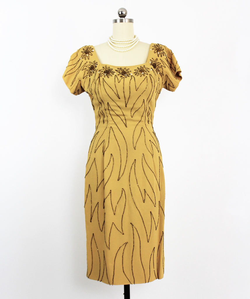 Vintage 1950's Mr. Frank Bombshell Wiggle Dress in Marigold Yellow W/Beading