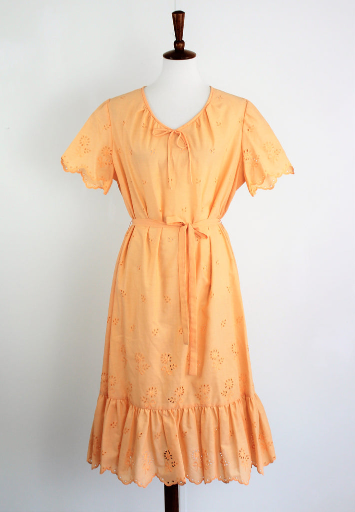 Vintage 1970s Eyelet Lace Dress In Orange Sherbert NWT