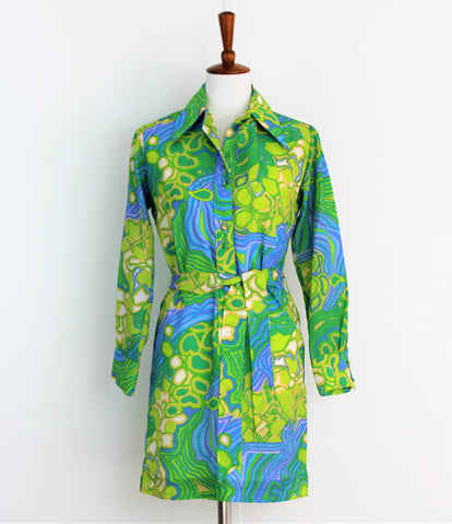 Vintage 1970's Lanvin Shirtdress With Abstract Green, Blue and White Print