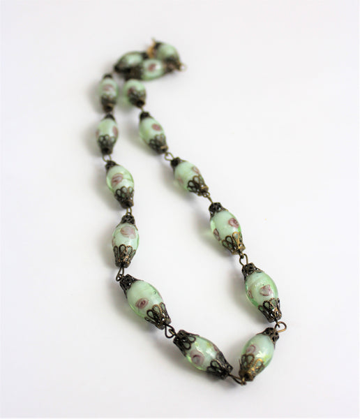Vintage 1980's Pale Green Lavender Roses Lampwork Art Glass Bead Necklace