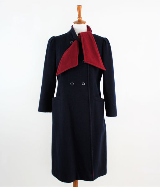 Vintage 1960's Beekman Place Wool Coat in Black Blue and Ruby Red W/Shawl Collar