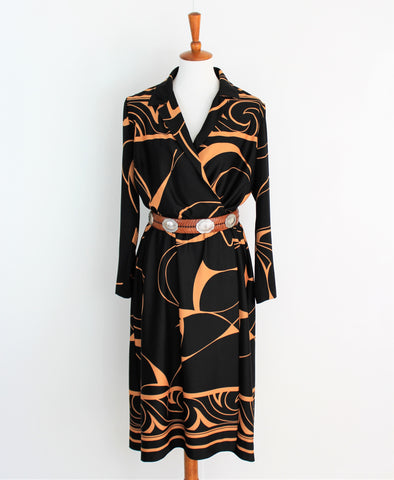 Vintage 1970's Henry Lee Black Secretary Dress With Tan Print