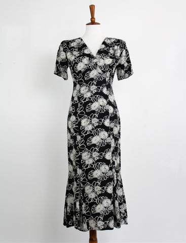 Vintage Black & White Midi Dress by Rampage