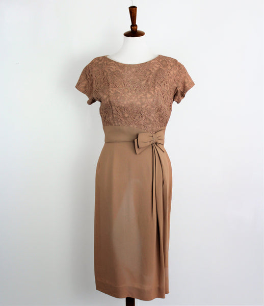 Vintage 1950's Tan Cocktail Dress