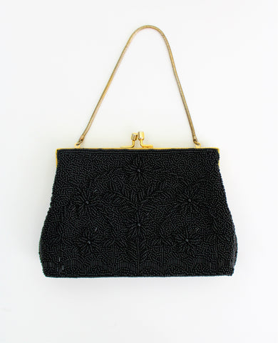 Vintage 1950's Sparkling Beaded Clutch Tuck Away Chain Purse