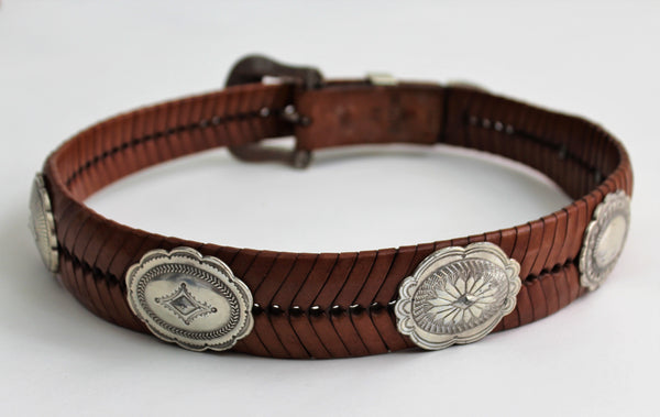 Vintage Braided Genuine Leather Belt with Silver Studs