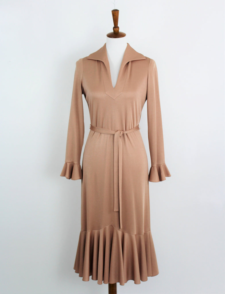 Vintage Umba for Parnes Feinstein Belted Beige Stretch Dress Ruffle Chic