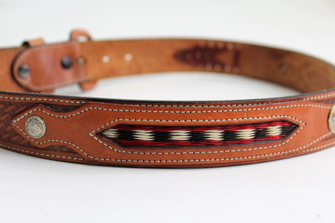 Womans Country Belt With Red & White Horsehair design