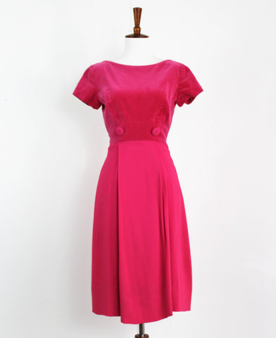 Vintage 1960's Sweet Pink Velvet Rayon Wiggle Dress