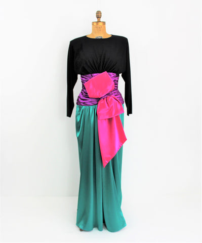 Vintage 1980 C. Randall Brooks Couture Evening Silk Gown