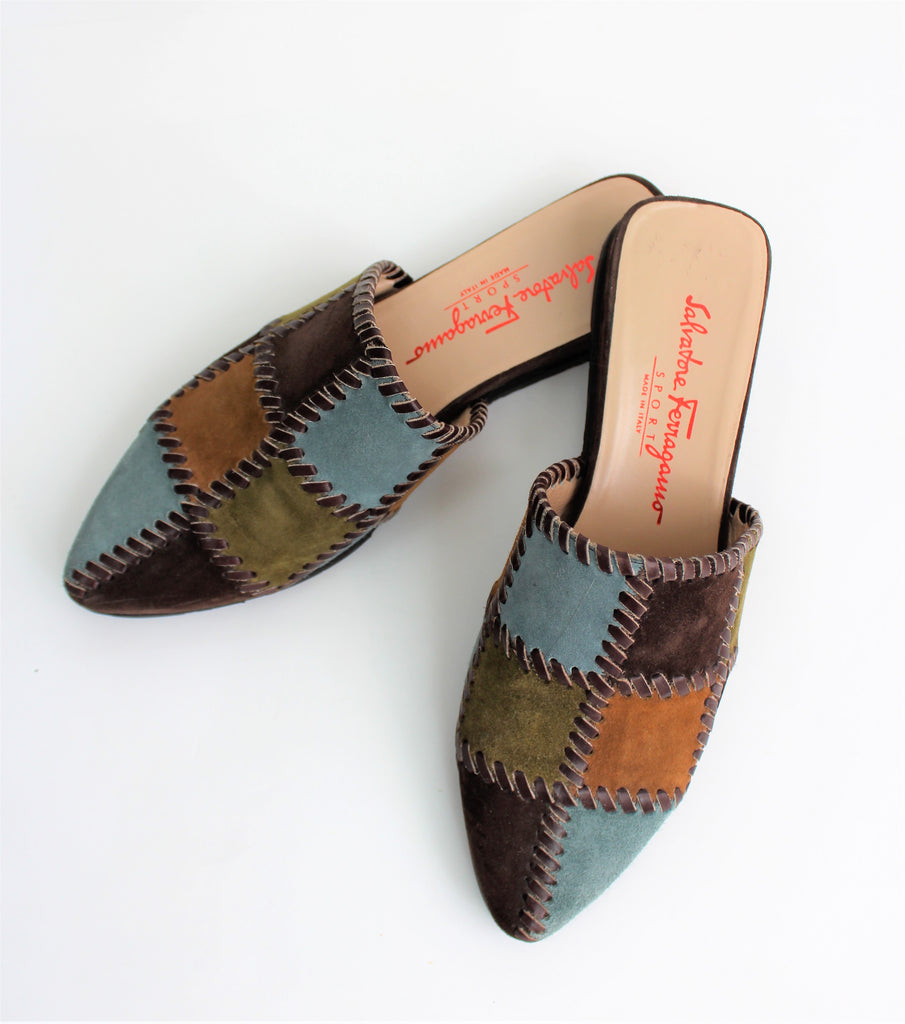 Salvatore Ferragamo Sport Suede Patchwork Mules - Made in Italy