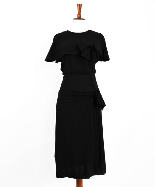 Vintage 1940 VTG 40s Black Rayon Peplum Cape Dress w/Bows